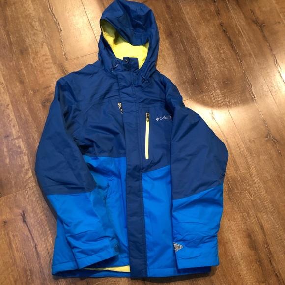 Columbia Men/'s Frozen Granular OMNI HEAT Hooded Jacket BLUE GREY All Sizes
